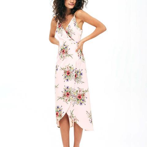 Strappy Floral Wrap Dress