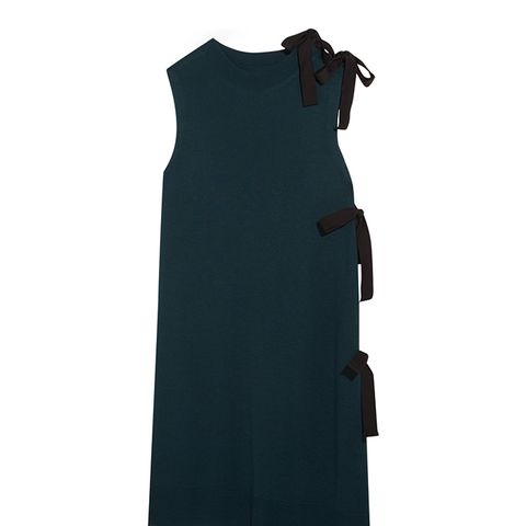 Tie-Side Asymmetric Knitted Mini Dress