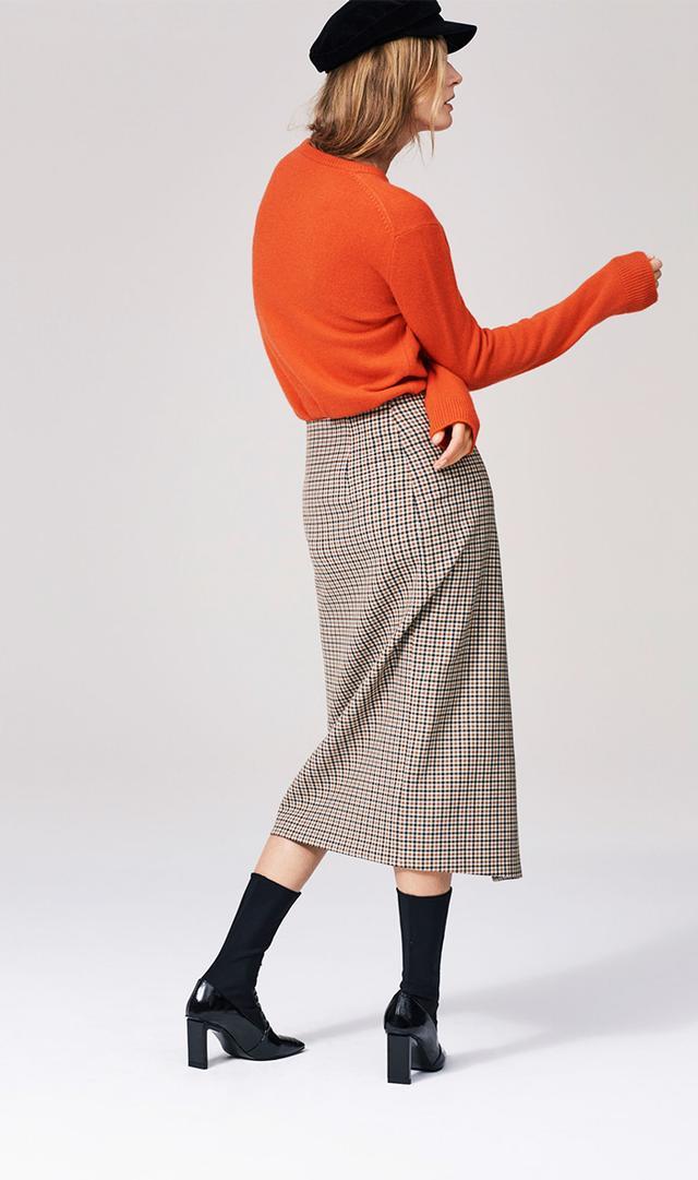 Zara Checked Wrap-Style Midi Skirt