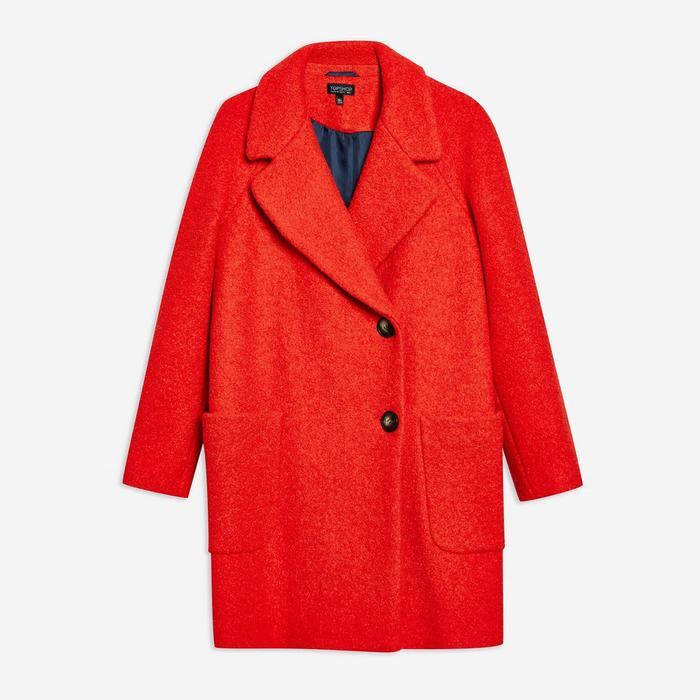 Topshop Seamed Bouclé Coat