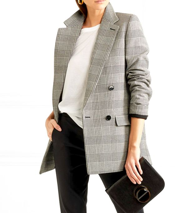 Milly Prince Of Wales Checked Wool-blend long Blazer
