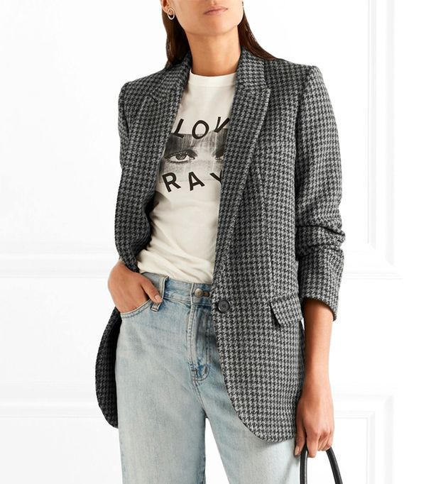 long Ice Houndstooth Wool-blend Blazer