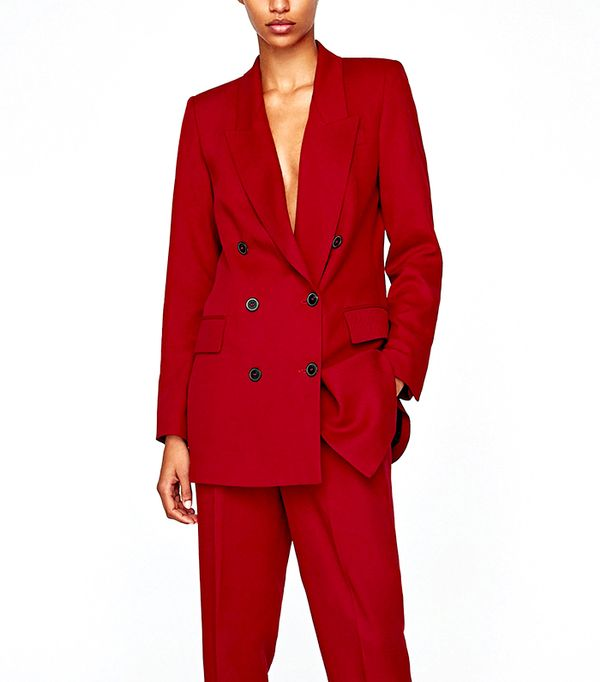 long blazer zara red
