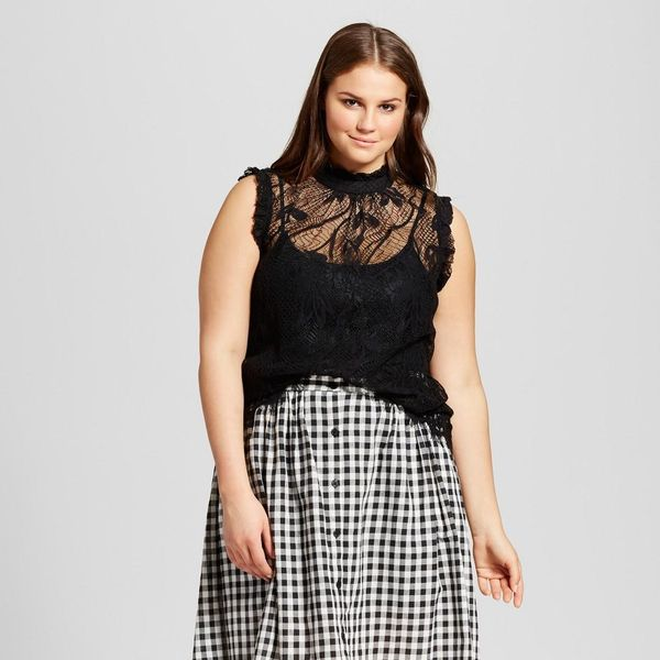 Plus Size Ruffle Neck Lace Shell