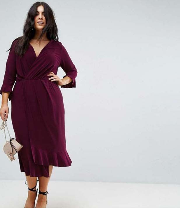ASOS Curve Wrap Front Midi Dress