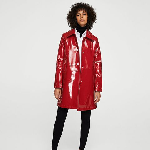 Buttoned Vinyl Trench