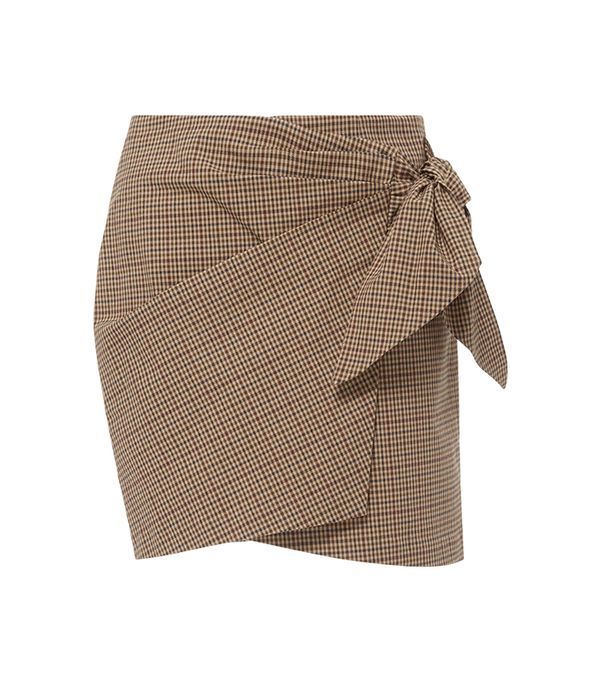 Ninon Gingham Wrap Mini Skirt