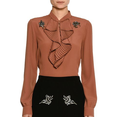 Ruffle-Front Long-Sleeve Silk Shirt With Embellishments
