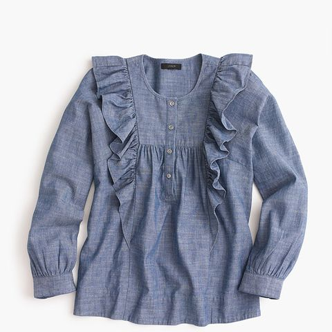 Ruffle-Front Chambray Top