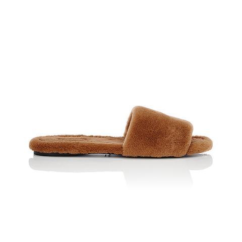 Ellen Mink Fur Slide Sandals