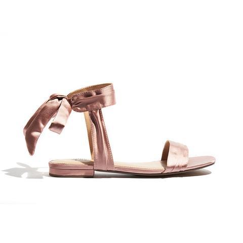 Liana Satin Tie Back Ankle Wrap Sandals