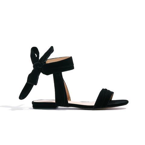 Liana Velvet Tie Back Ankle Wrap Sandals