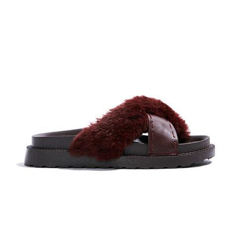 Kassandra Faux Fur Slide Sandals