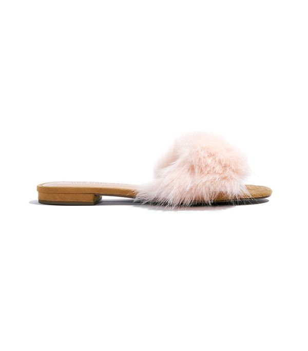 Louise Fur Flat Slide Sandals