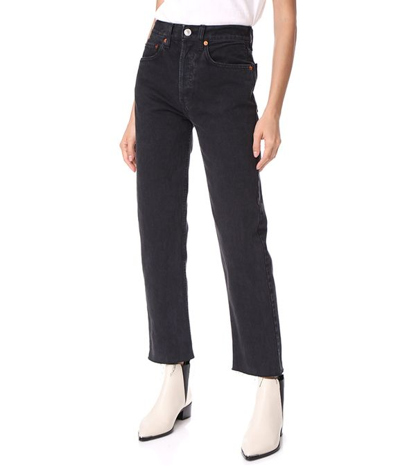 High Rise Rigid Stove Pipe Jeans