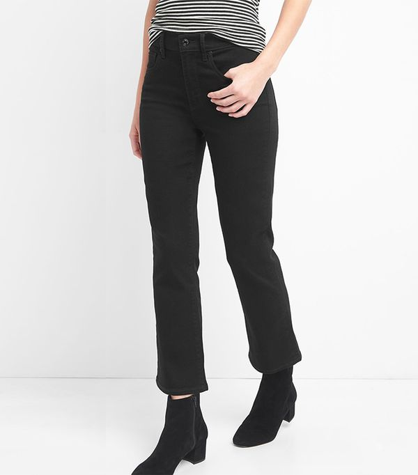 Women High Rise Everblack Crop Flare Jeans