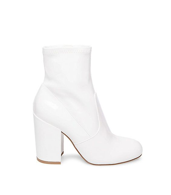 Steve Madden Gaze Booties in White Patent