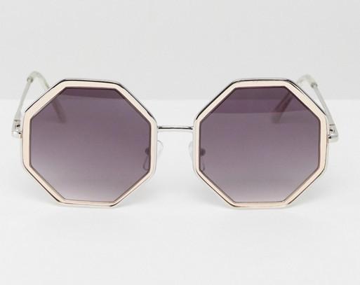 Hexagon Sunglasses In Rose Gold