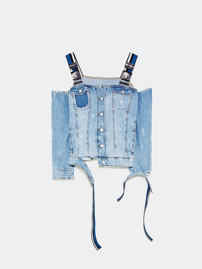 zara exclusive trf collection: Zara Denim Jacket With Straps