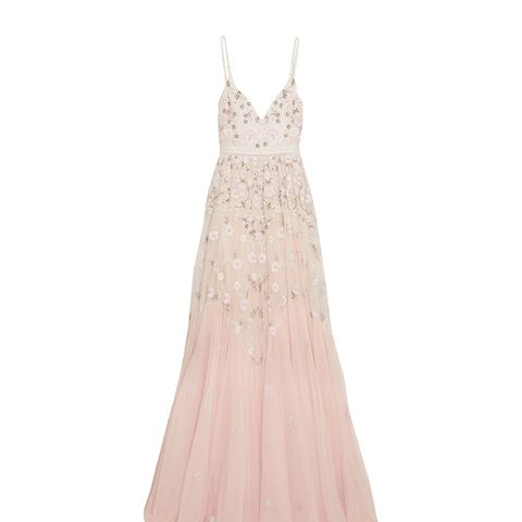 Embellished Embroidered Tulle Gown