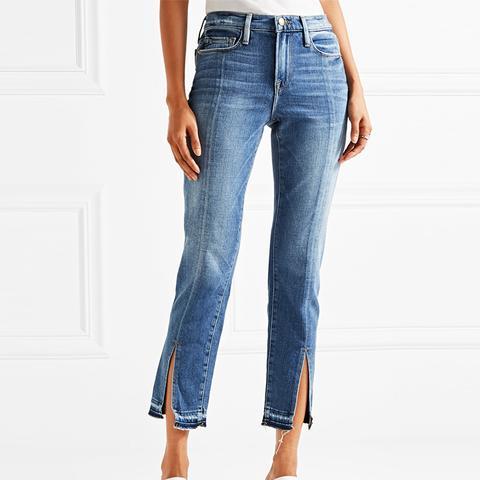 Le Nouveau Distressed Mid-Ride Jeans