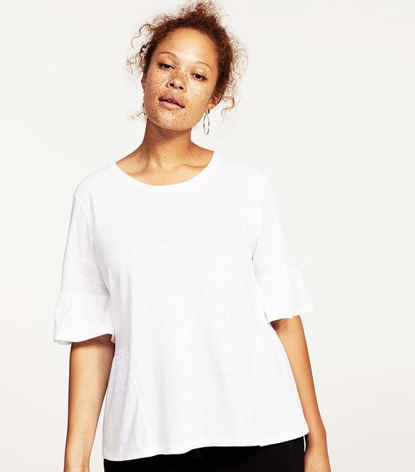 Ruffle cotton t-shirt