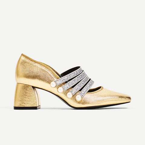 Gold High-Heel Court Shoes With Ankle Strap