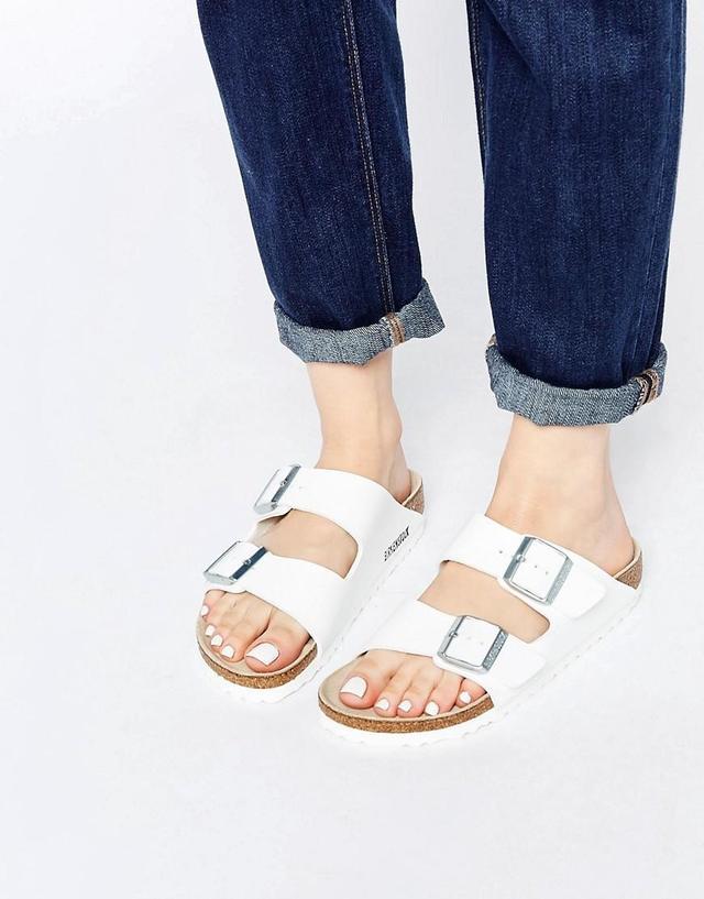 Arizona White Birko Flor Narrow Fit Flat Sandals