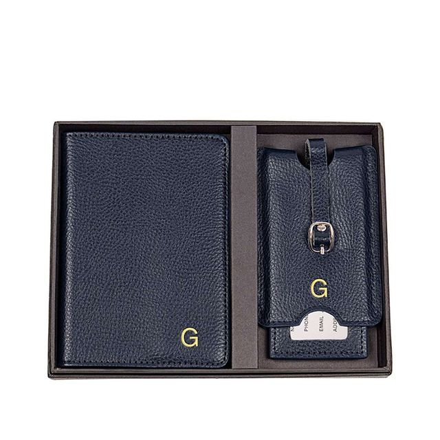 Cathy's Concepts Monogram Passport Case & Luggage Tag - Blue
