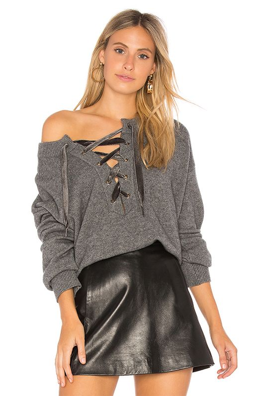 Olivia Lace Up Sweater in Gray. - size S (also in L,M,XS)