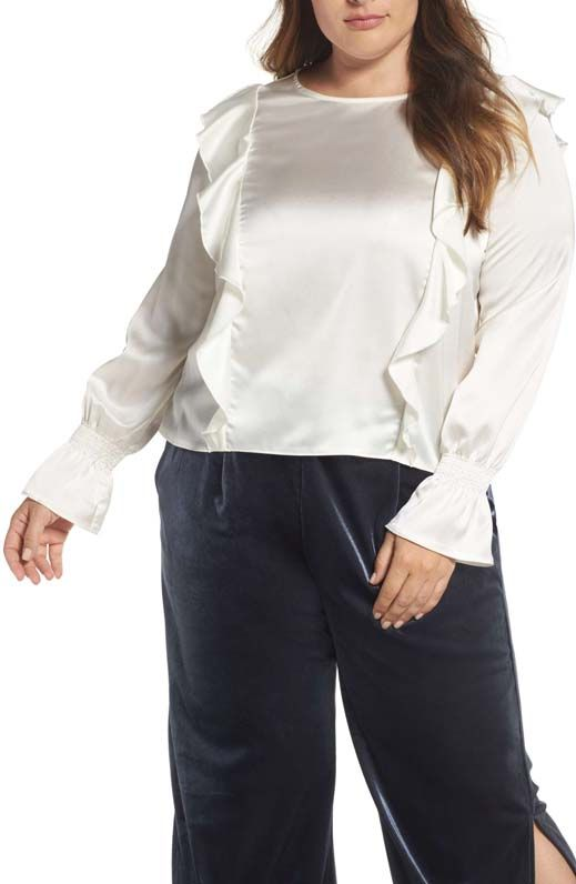Plus Size Women's Elvi Satin Ruffle Top