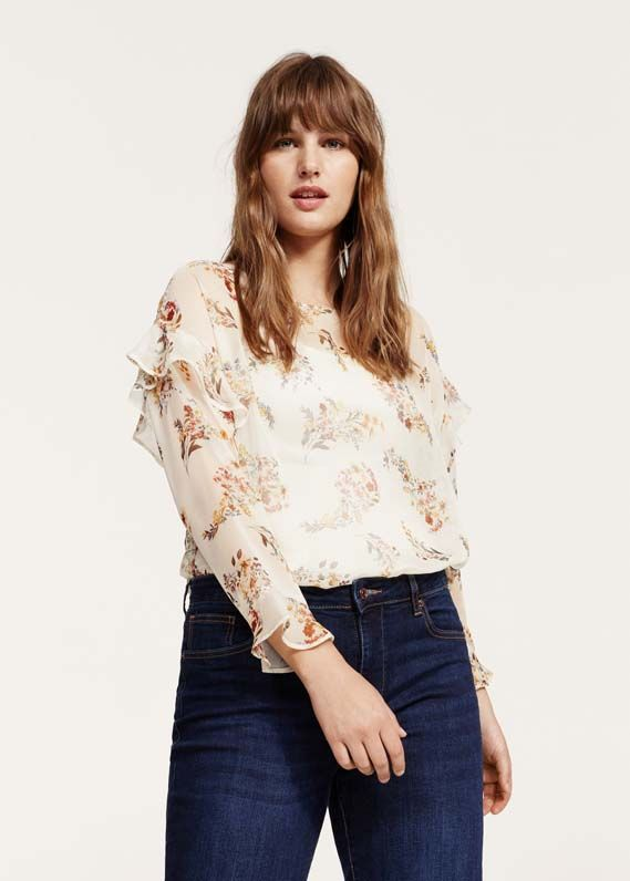 Printed mixed blouse
