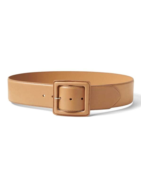 Leather Covered Buckle Wide Belt