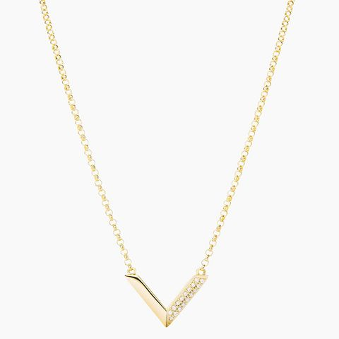 Mini-Angular Chain Necklace, 14K-Gold/Pave