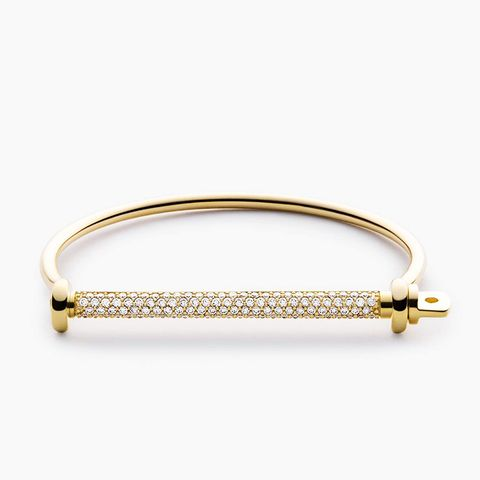 Thin Screw Cuff Diamond Bracelet, 14K-Gold/Pave