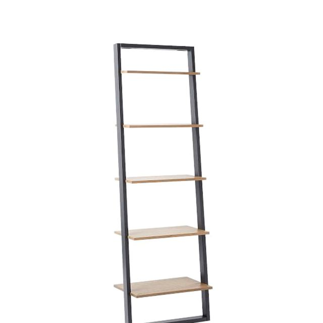 Ladder Shelf Leaning Wall Storage Wide Shelf - White Lacquer/Espresso