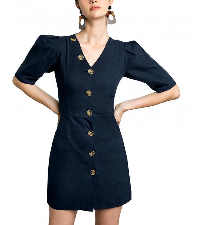 Pixie Market Luna Button V Linen Dress