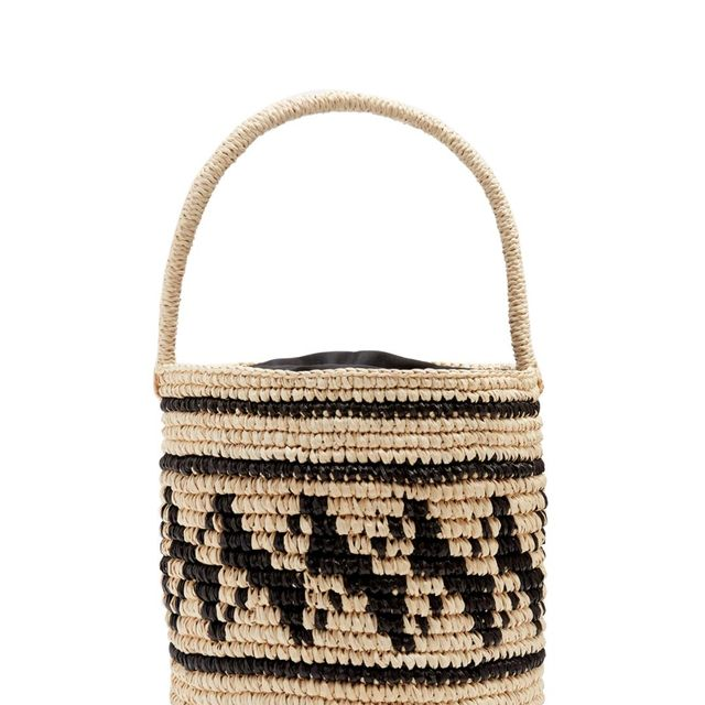 Geometric-woven toquilla-straw basket bag