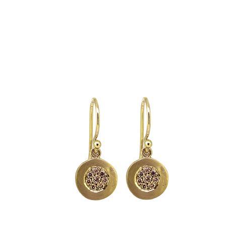 Cognac Diamond Pebble Earrings