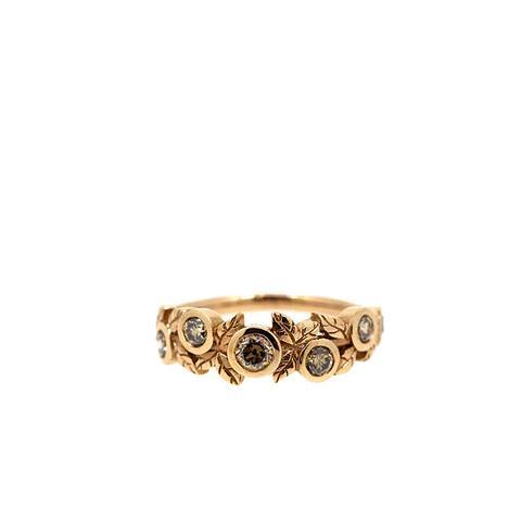 Rose Gold Cognac Diamond Vine Ring