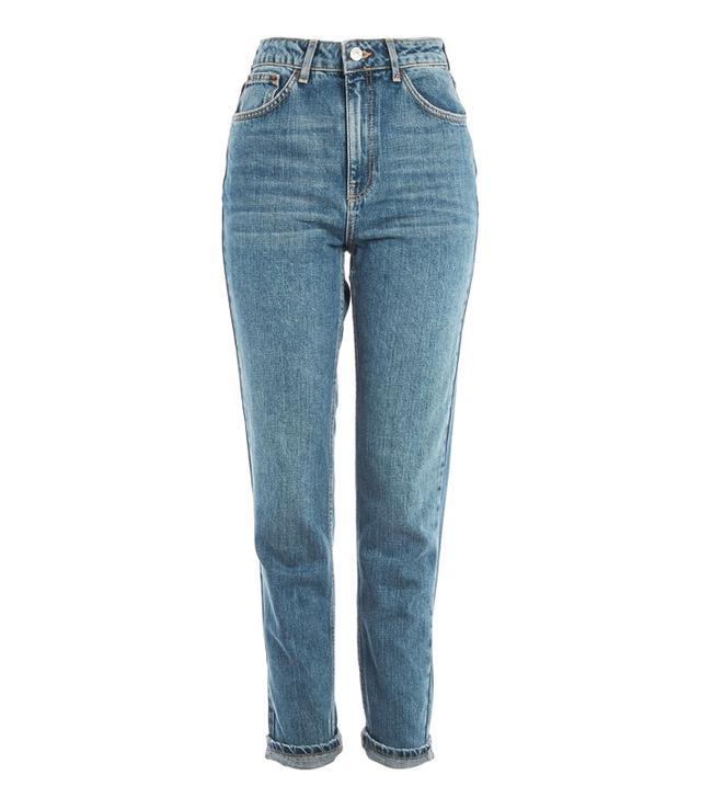 Rachel Green style: Topshop MOTO Blue Green Mom Jeans