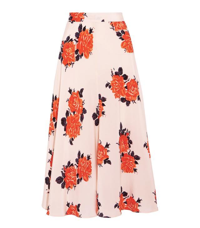 Rachel Green style: Ganni Harness Floral-Print Silk Crepe de Chine Midi Skirt