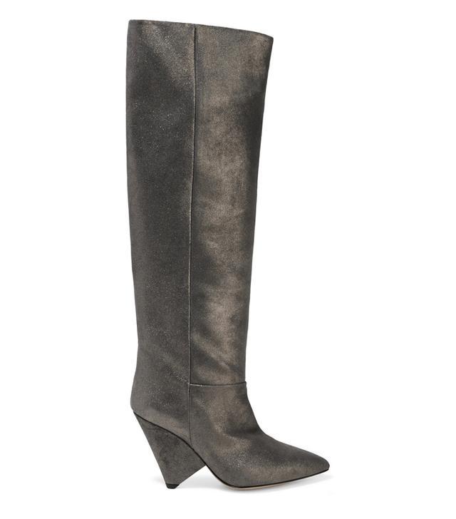 Rachel Green style: Isabel Marant Loyko Metallic Brushed-Leather Knee Boots