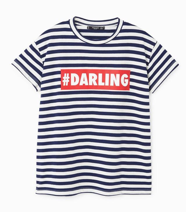 Rachel Green style: Mango Message Cotton T-Shirt
