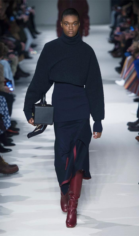 Victoria Beckham Autumn Winter 2017 style: navy jumper and skirt
