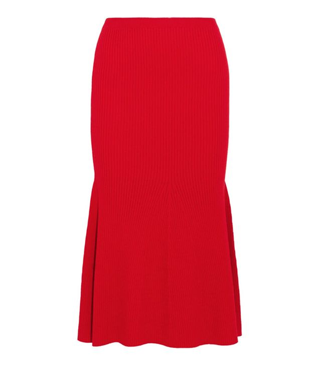 Victoria Beckham Autumn Winter 2017 style: red skirt