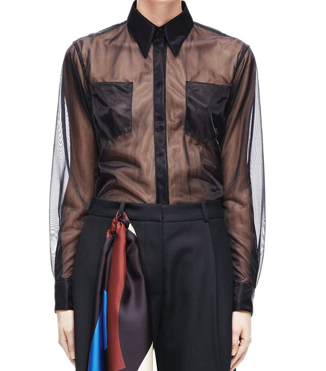 Victoria Beckham Autumn Winter 2017 style: Sheer shirt