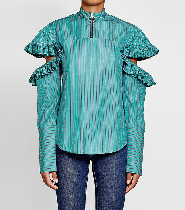 Cold-Shoulder Cotton Blouse with Ruffles