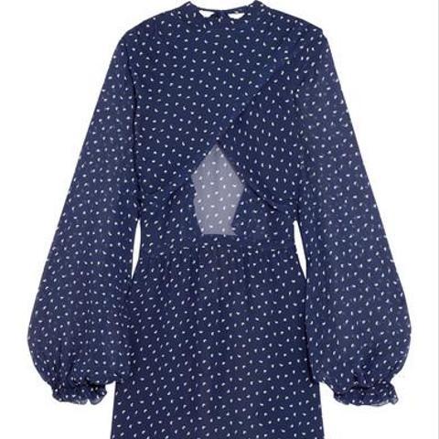 Lorelai Open-Back Printed Silk-Georgette Top