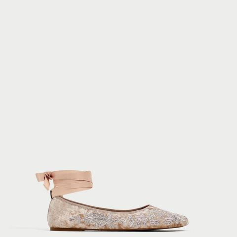 Lace-Up Ballerinas in Brocade Velvet